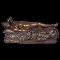 Victorian Bronze Nude Lady Reclining Donati 1887