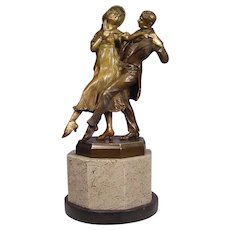 Antique Polychrome Vienna Bronze Tango Dancers Zach