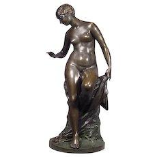 Antique Bronze Nude Lady Sculpture Signed Werner