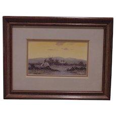 Beautiful Indian Village Painting Signed Guy Rowbury