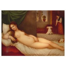 Antique Nude Lady With Small Dog Painting on Porcelain