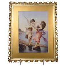 Antique Painted Porcelain Plaque Lady Fishing Cherub
