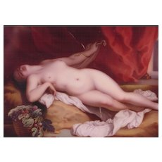 Antique Painted Porcelain Plaque Nude Cleopatra & Snake