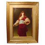 Antique Painted Porcelain Plaque Lady Tambourine