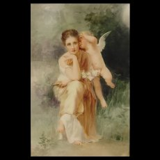 Antique Painting On Porcelain Plaque Lady With Cherub