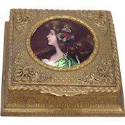 Beautiful Antique Art Nouveau Enamel Jewelry Box