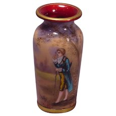 Beautiful Signed Nallet French Enamel Vase Gentleman
