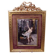 Exquisite Antique French Enamel Nude Lady Masked Man