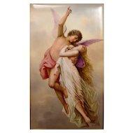 Superb Porcelain Plaque Cupid Psyche Signed K. Forster