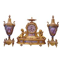 Beautiful Antique French Gilt Bronze 3 Piece Clock Set