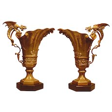 Superb Antique 2 Silvered & Gilt Bronze Griffin Ewers
