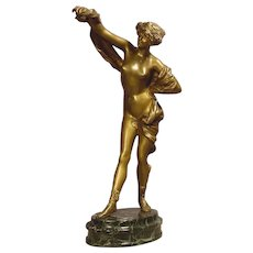Antique Nude Lady Bronze Dancer Signed Philippe