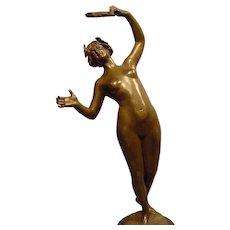 Art Nouveau Nude Female Dancer Tambourine V.Seifert