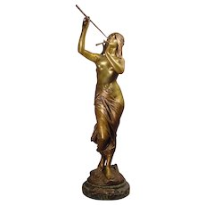 Antique Bronze Nude Nymph Blowing Pipes E. Drouot