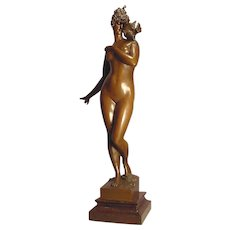 Antique Nude Lady & Bird Bronze Aktien Cesellochaft