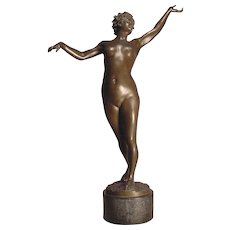 Exquisite Antique Nude Bronze Nymph Artist Signed Bruno