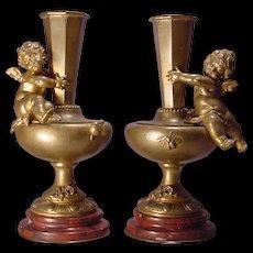 Pair Antique Cherub Bronze Marble Vases Aug. Moreau