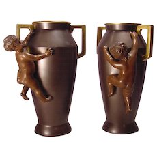 Pair Antique Bronze Putto Vases With Gilt Handles
