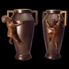 Pair Antique Bronze Putto Vases With Gilt Handles