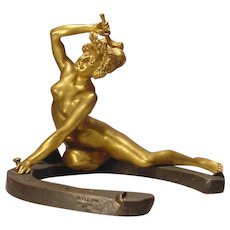 Antique Nude Lady Gilt Bronze On Horseshoe Recipon