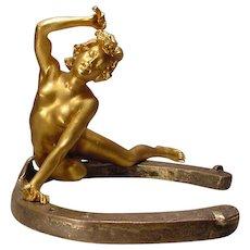 Antique Nude Lady Gilt Bronze On Horseshoe Recipon