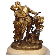 Romantic Antique Polychrome Bronze Sculpture La Monaca