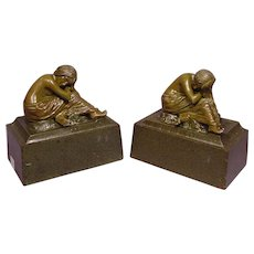 Art Nouveau Patinated Metal Bookends Nude Ladies
