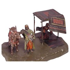 Antique Vienna Bronze Carpet Sellers & Donkey