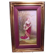 Antique Painting On Porcelain Plaque Lady With Flowers