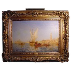 Antique Venetian Canal Scene Oil On Canvas Ch. Cousin