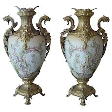 Superb Antique German Palace Urns Gilt Metal Griffins Raised Gold Earthen Ware