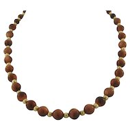 Vintage 14k Gold Bead and Polished Gold Stone Necklace