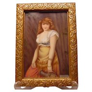 Beautiful Antique Painting on Porcelain Plaque Orientalist Lady With Amphora Jug