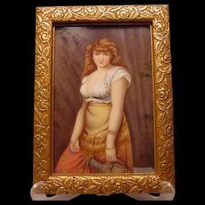 Beautiful Antique Painting on Porcelain Plaque Orientalist Lady With Amphora Jug