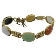 Vintage 14k Gold Chinese Multi Color Jadeite Bracelet