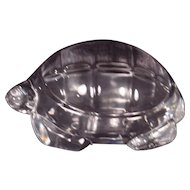 Signed Baccarat Crystal Turtle Paperweight