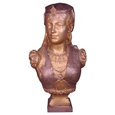 Extraordinary Life size French Gilt Bronze Bust Armide Zacharie Rimbez