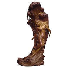 Rare Antique Signed C. Kauba Geschutzt Nude Bronze Lady on a Wave