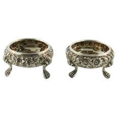 Beautiful Pair of American Antique Sterling Silver Repousse Salt Cellars
