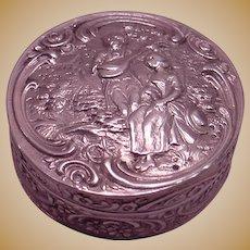 Antique 800 Continental Silvered Gilt High Relief Sculptured Snuff Box