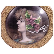 Beautiful Antique Art Nouveau Enamel Lady's Portrait Standing Frame