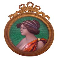 Beautiful Antique Art Nouveau Enamel Lady's Framed Portrait