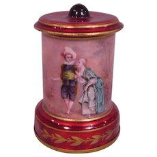 Beautiful Antique French Enamel Decorative Urn Man & Woman in Formal Dress