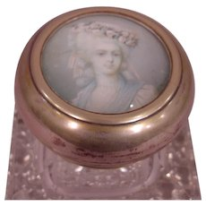 Antique Cut Crystal Inkwell with Exquisite 18th Century Lady's Portrait Top