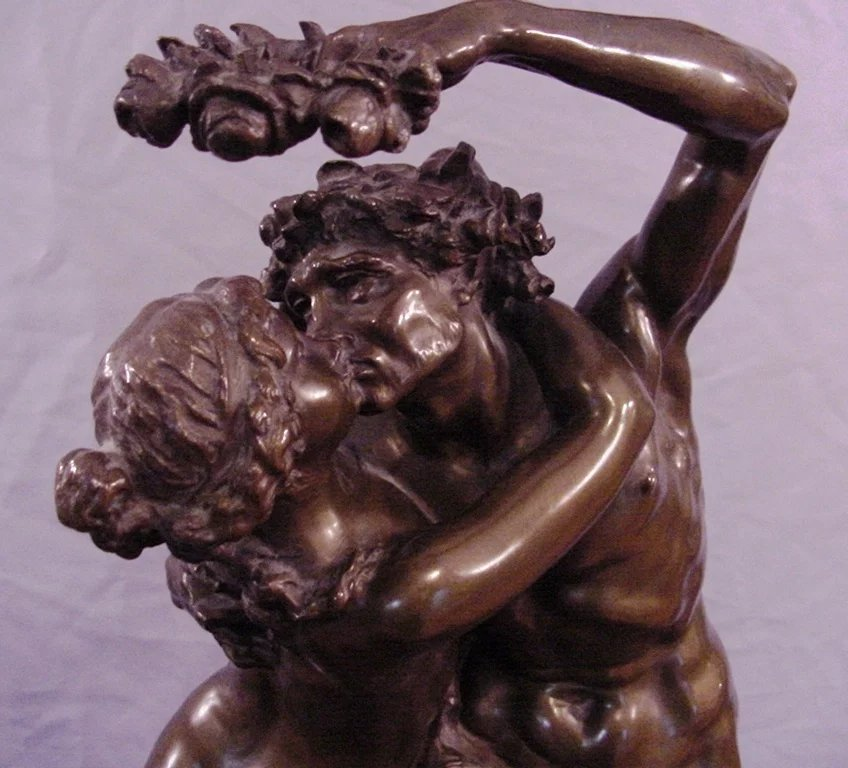 Science Antique bronze of a seated male nude by Franz