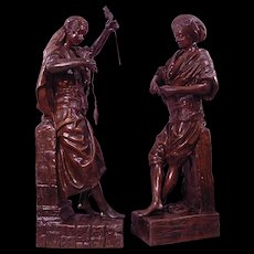 Pair of Signed L. Hottot Bronze Coated Zinc Orientalist Sculptures Man & Woman