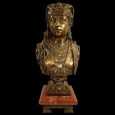 Zacharie Rimbez Antique Orientalist Polychrome Bronze Womans Bust 19th Century