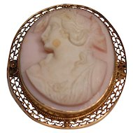 Beautiful Antique Carved Coral 10K Gold Cameo pendant Brooch
