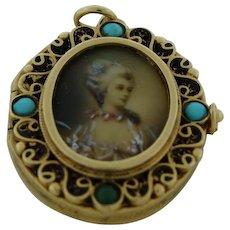 Beautiful Antique 14K Gold Turquoise Miniature Portrait-Painting Locket