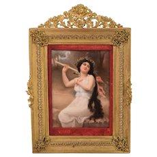 Beautiful Antique Painting on Porcelian Plaque Bacchante